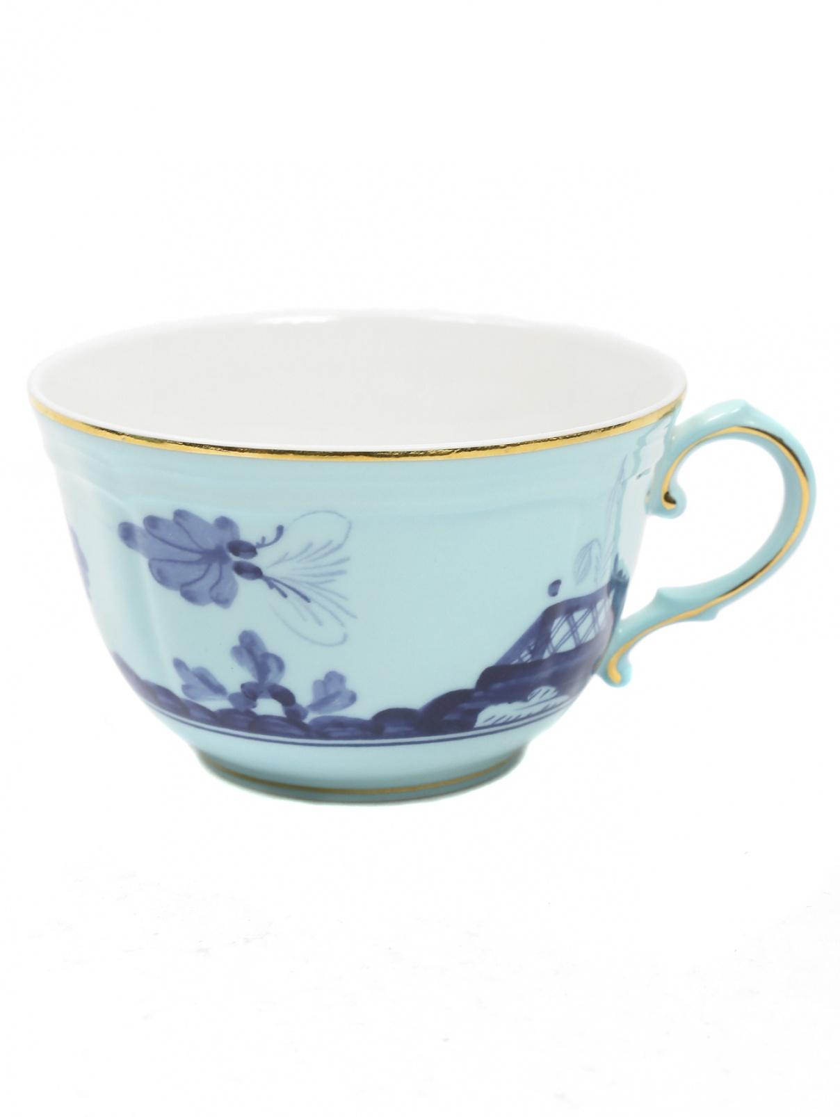 Чайная чашка с узором и золотой окантовкой Richard Ginori 1735  –  Общий вид