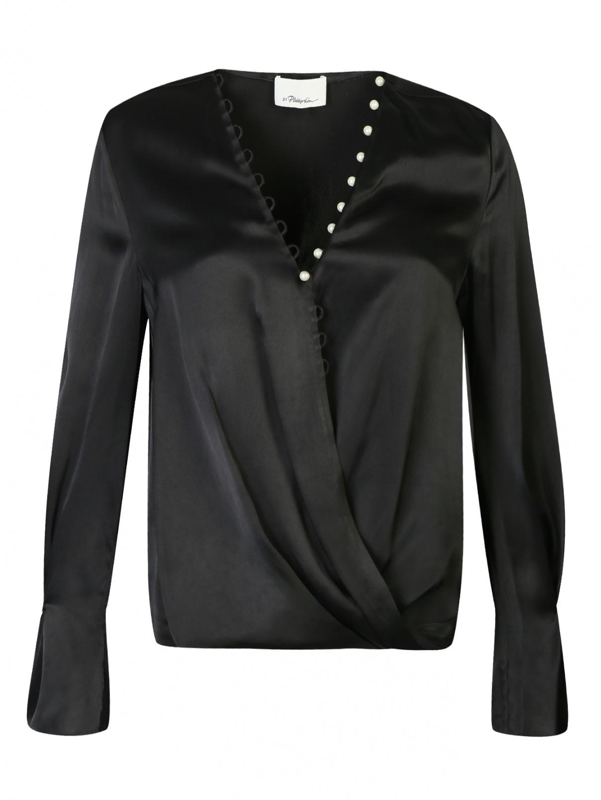Блуза из атласа на запах с перламутровыми пуговицами 3.1 Phillip Lim  –  Общий вид