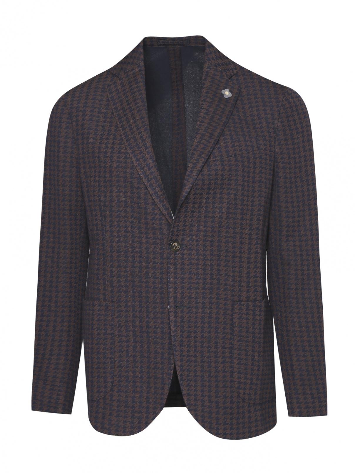 Пиджак однобортный из хлопка с узором LARDINI  –  Общий вид