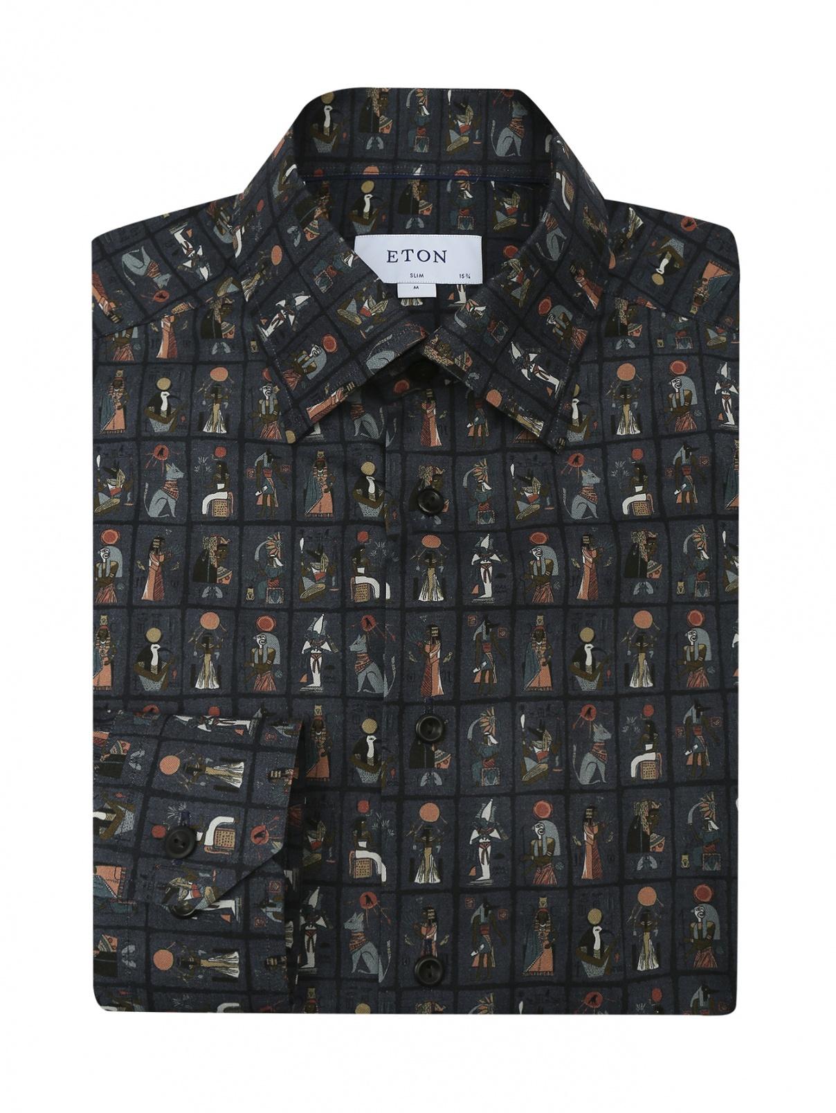 Рубашка из хлопка с узором Eton  –  Общий вид
