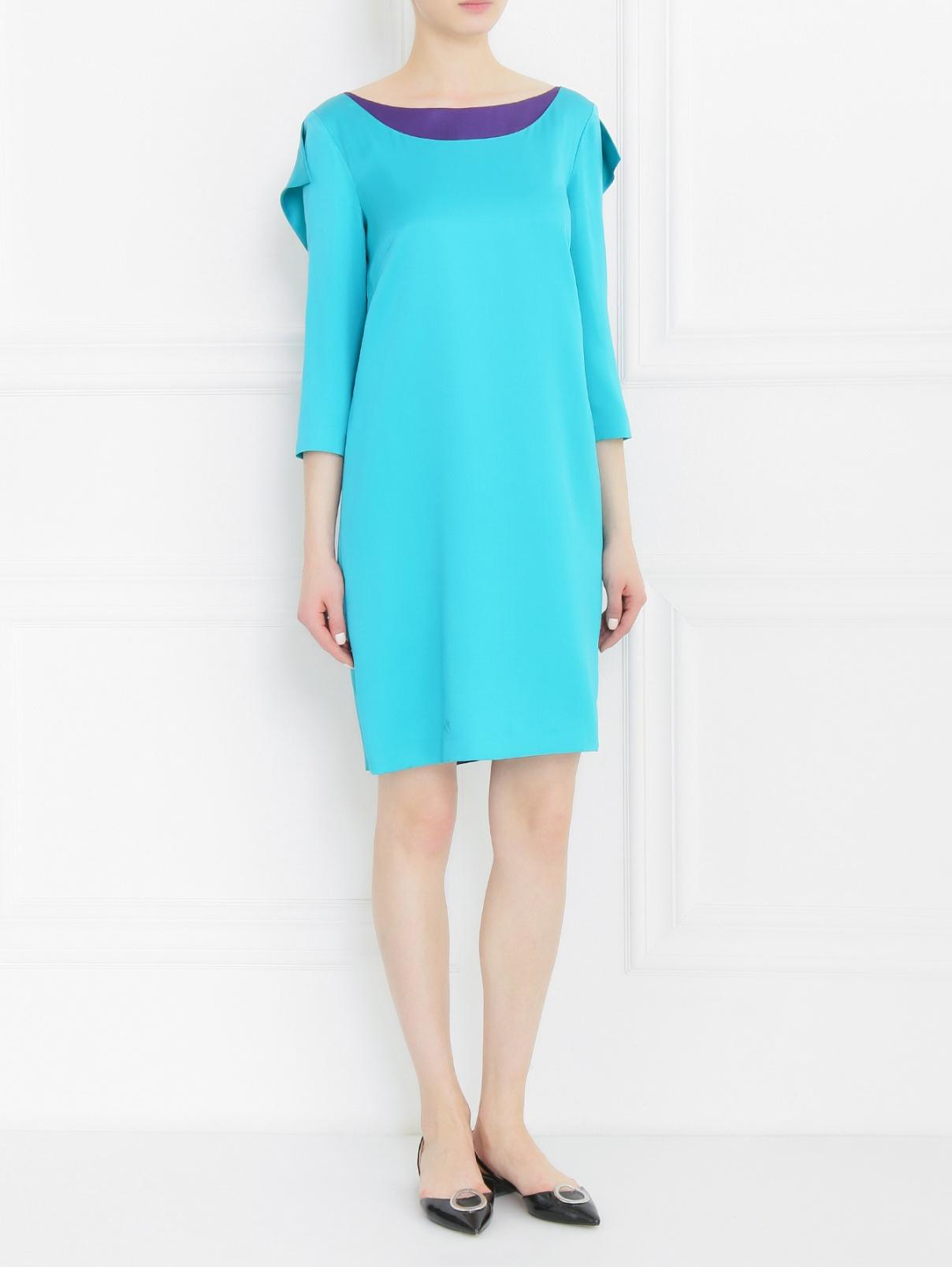 Платье из шелка с контрастной вставкой Alberta Ferretti  –  Модель Общий вид