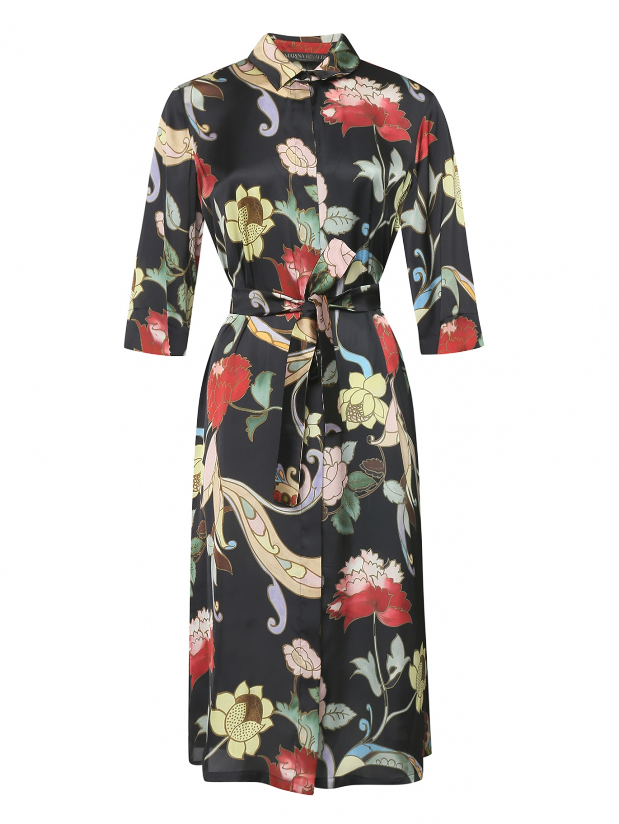 Платье-рубашка с цветочным принтом Marina Rinaldi  –  Общий вид
