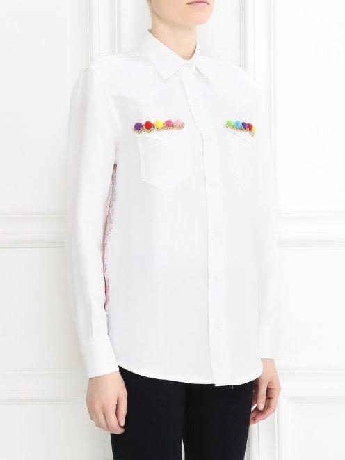 Рубашка изо льна и отделкой из кружева на спине - Модель Верх-Низ