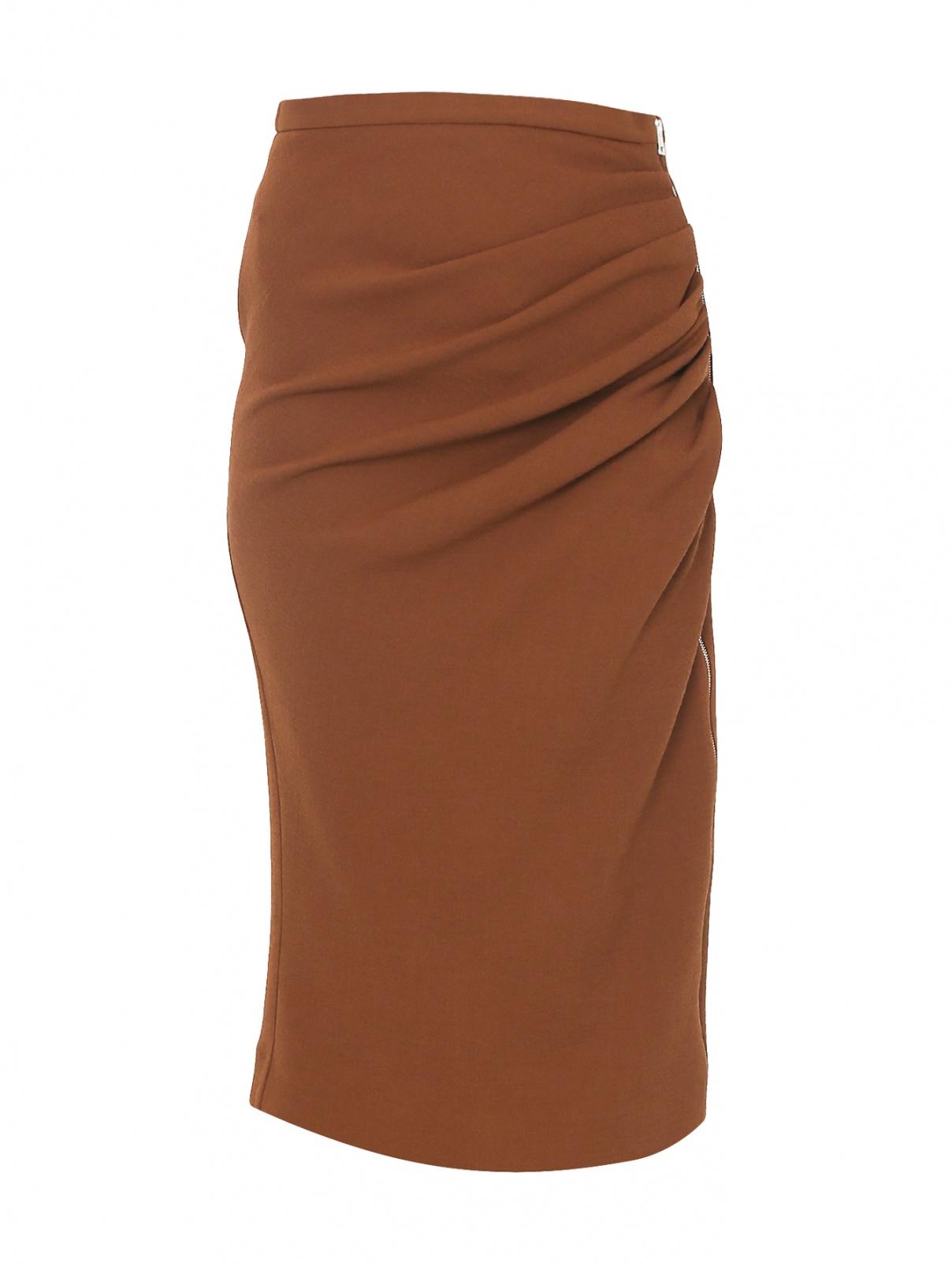 Юбка-миди из шерсти с драпировкой Rochas  –  Общий вид