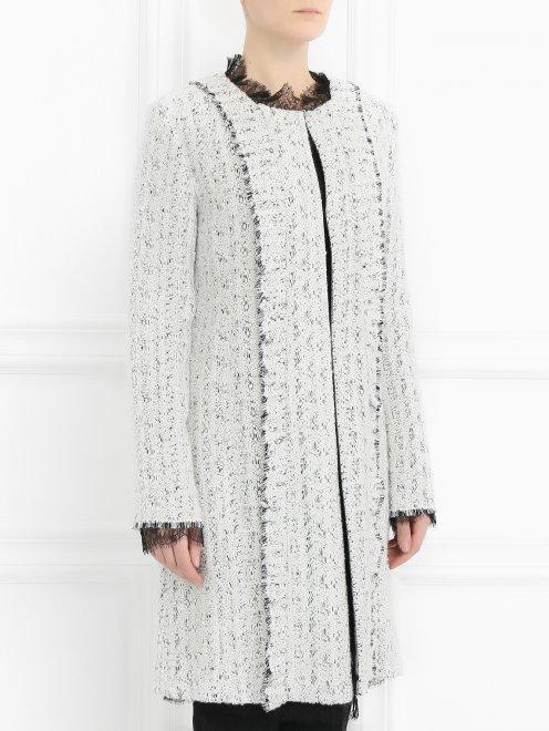 Пальто с кружевной отделкой - Модель Верх-Низ