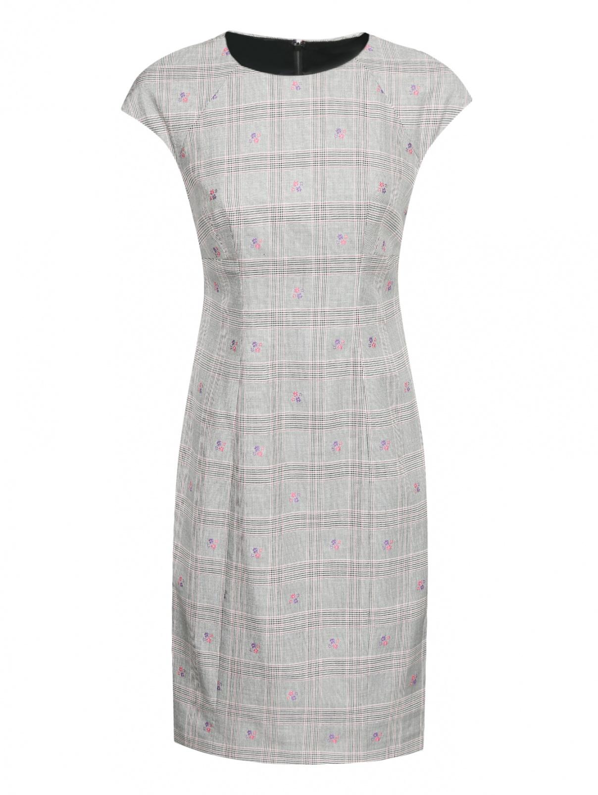 Платье из шерсти и хлопка с узором Brooks Brothers  –  Общий вид
