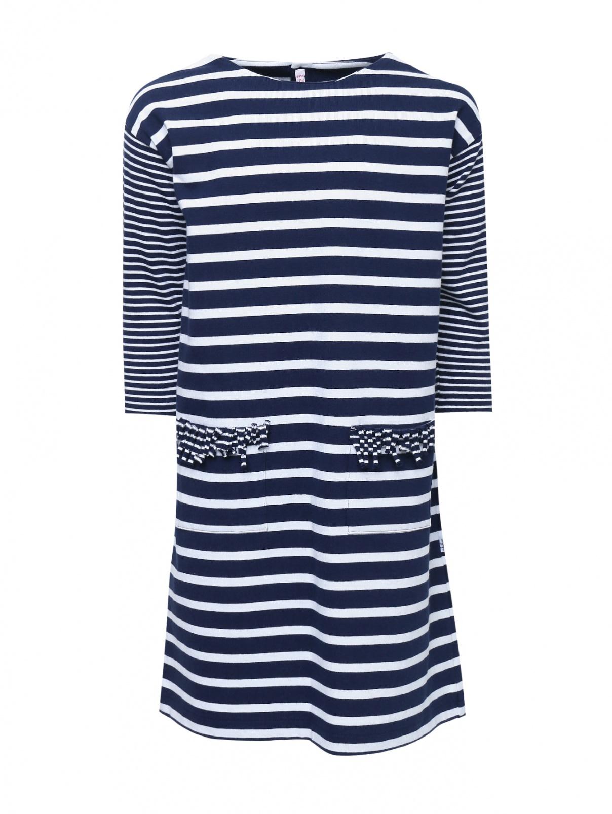 Платье трикотажное в полоску Il Gufo  –  Общий вид