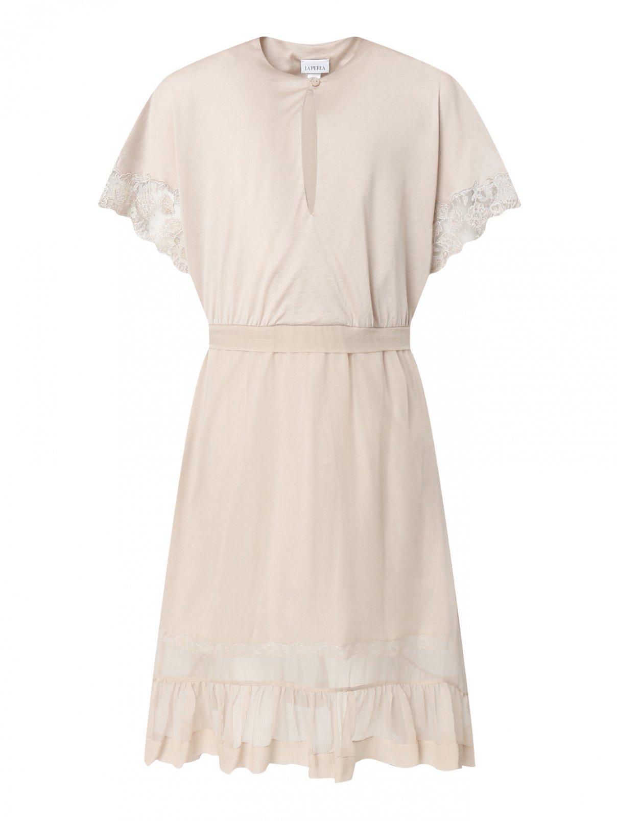 Сорочка из хлопка и шелка с кружевной отделкой La Perla  –  Общий вид