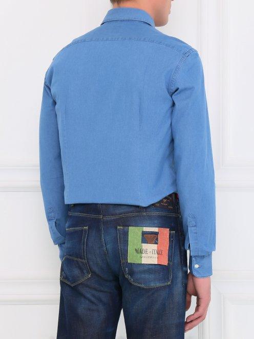 Рубашка из денима с нагрудным карманом  - Модель Верх-Низ1