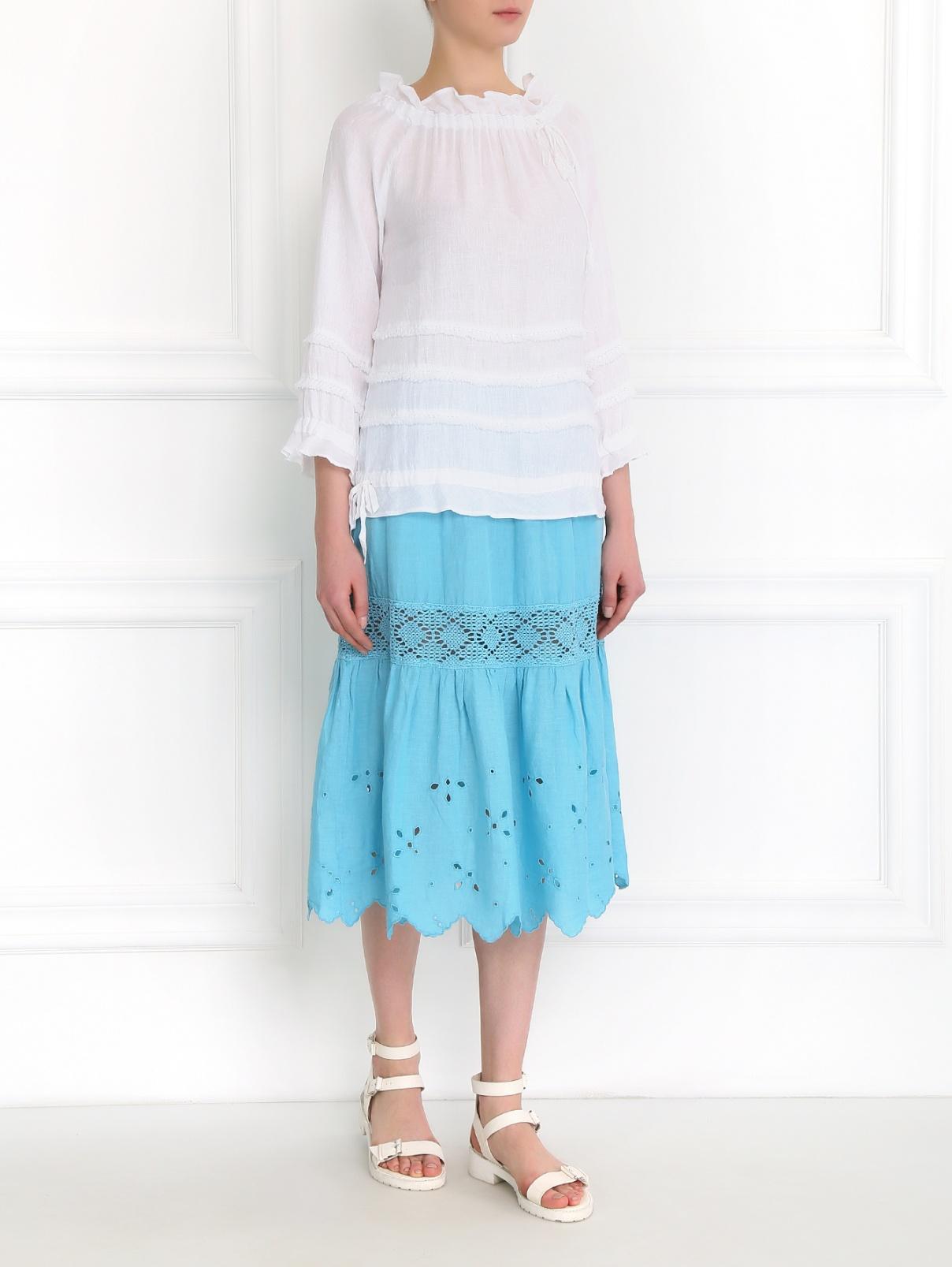 Юбка из льна с вышивкой 120% Lino  –  Модель Общий вид