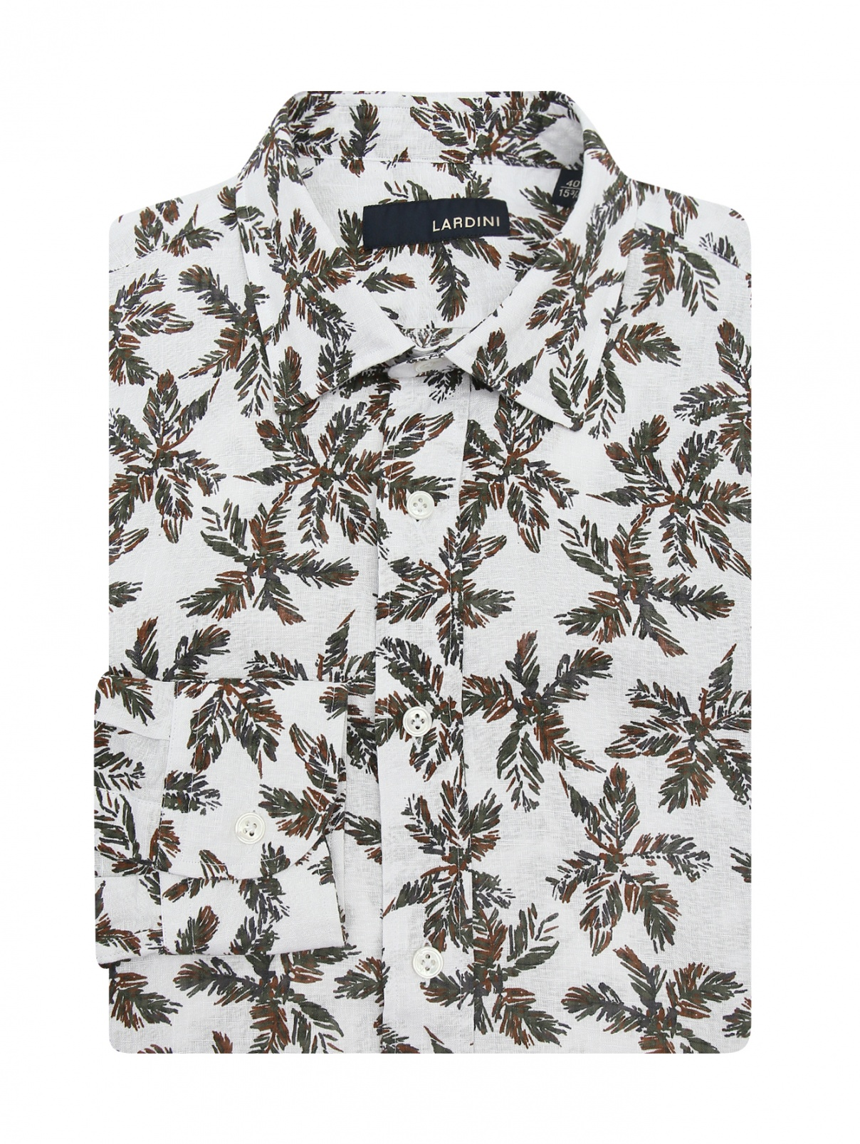 Рубашка из хлопка и льна с узором LARDINI  –  Общий вид