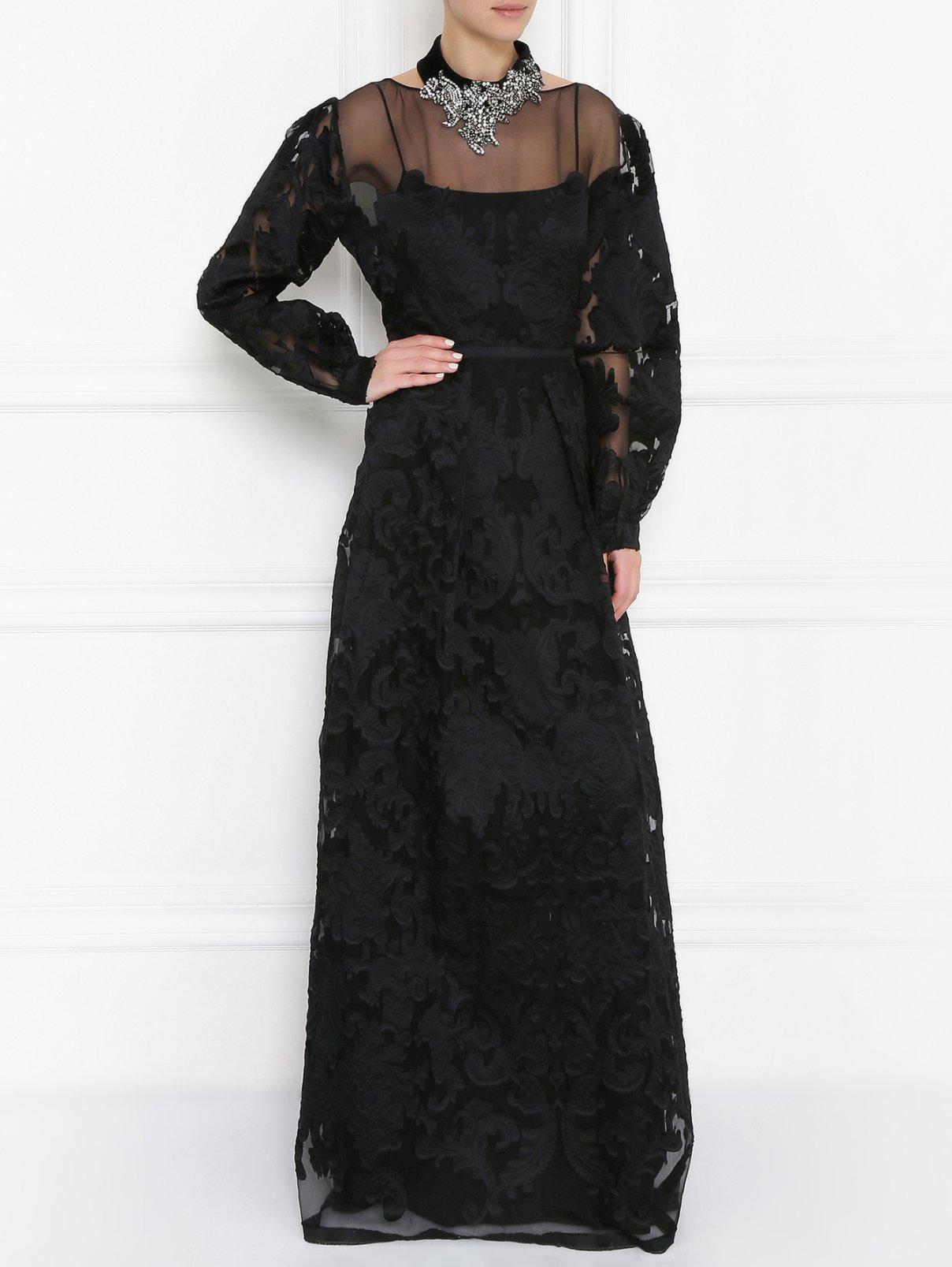 Платье-макси из смешанного шелка с узором Alberta Ferretti  –  Модель Общий вид