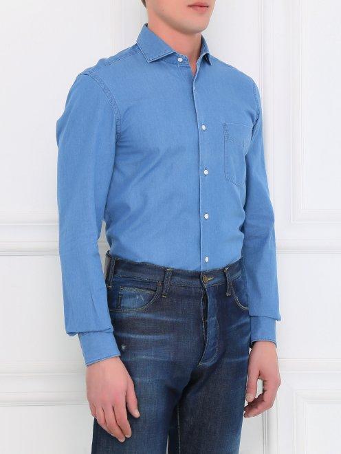 Рубашка из денима с нагрудным карманом  - Модель Верх-Низ