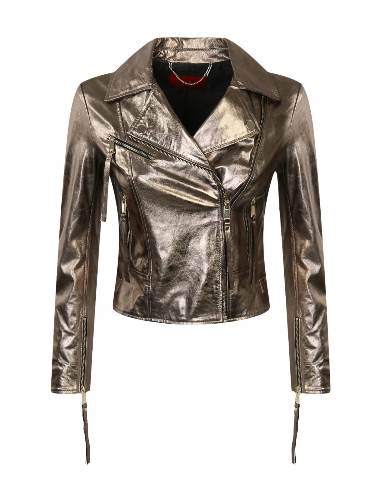Куртка-косуха из кожи с металлической фурнитурой Max&Co  –  Общий вид