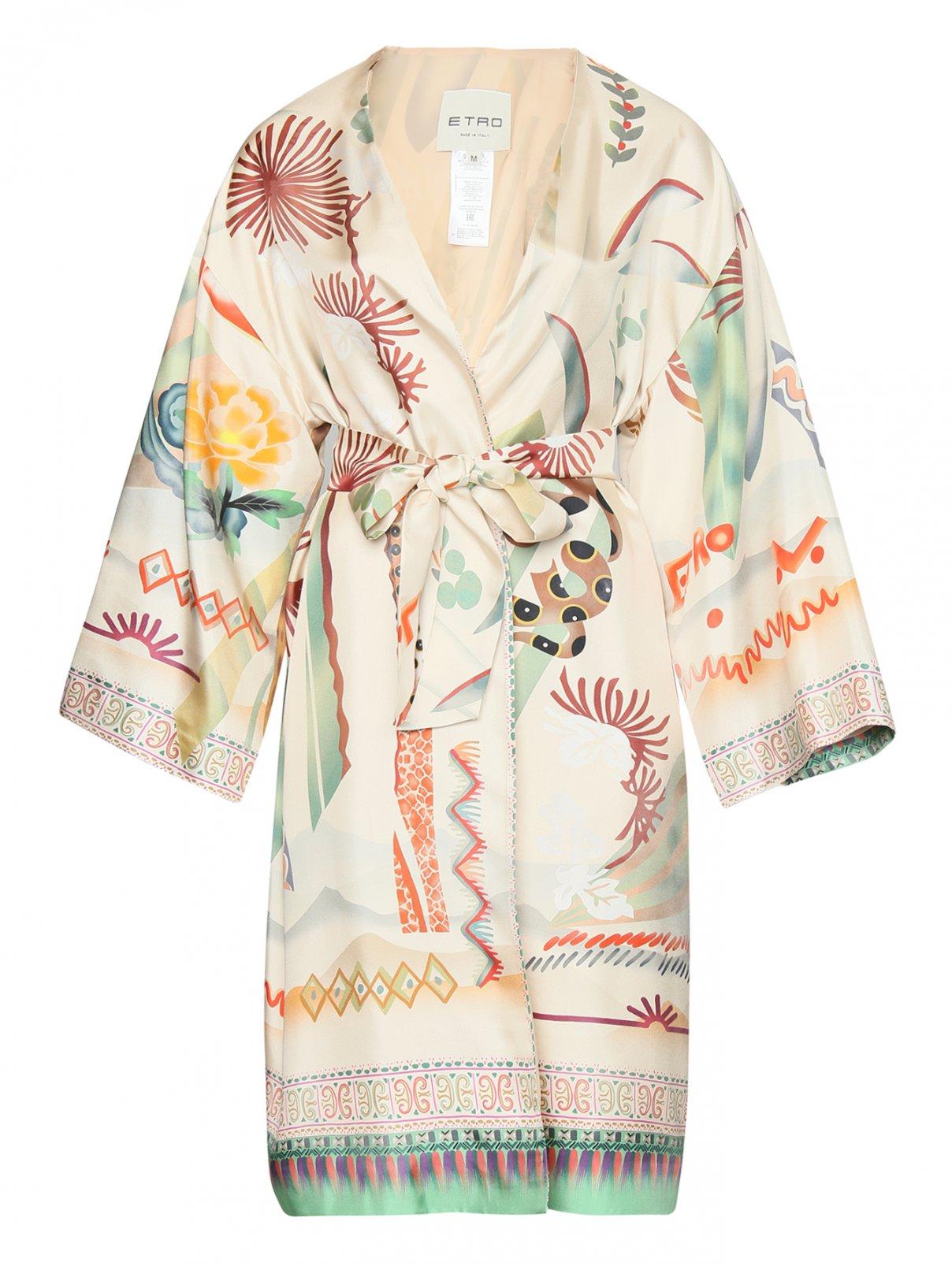 Пальто летнее из шелка с цветочным узором Etro  –  Общий вид