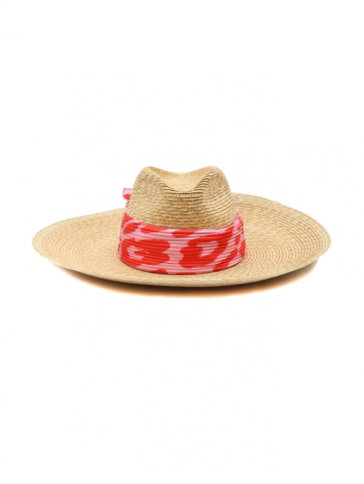 Соломенная шляпа с контрастным платком Ermanno Scervino  –  Общий вид