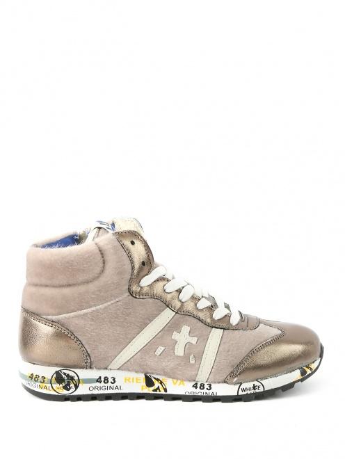 Высокие кроссовки из бархата с кожаными вставками - Обтравка1