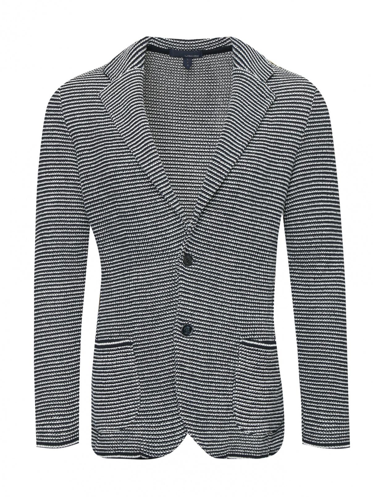 Трикотажный пиджак из хлопка с узором LARDINI  –  Общий вид