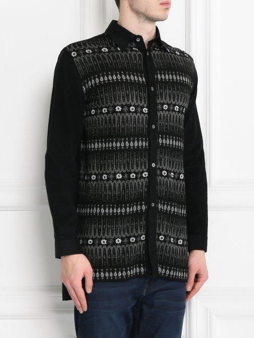 Рубашка вельветовая с узором - МодельВерхНиз