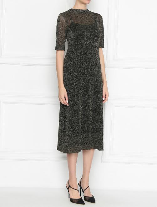 Платье трикотажное с люрексом - МодельВерхНиз