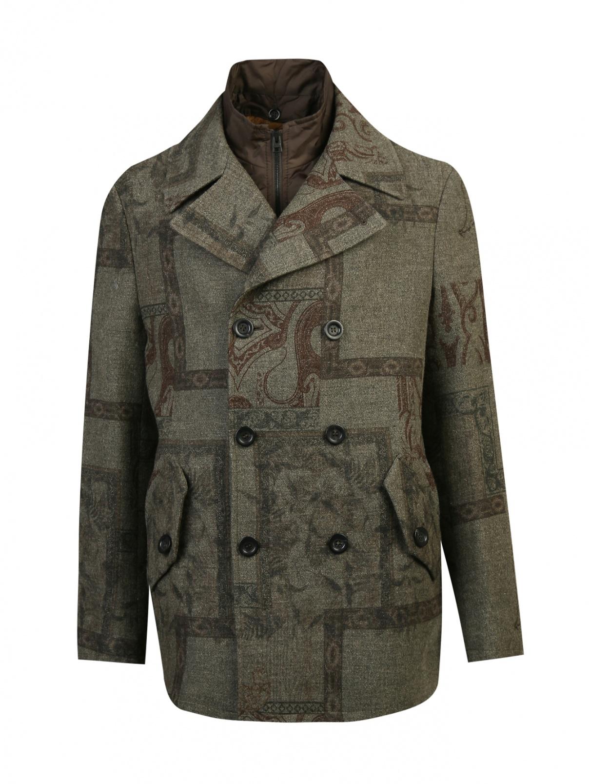 Пальто двубортное из шерсти и льна с узором Etro  –  Общий вид