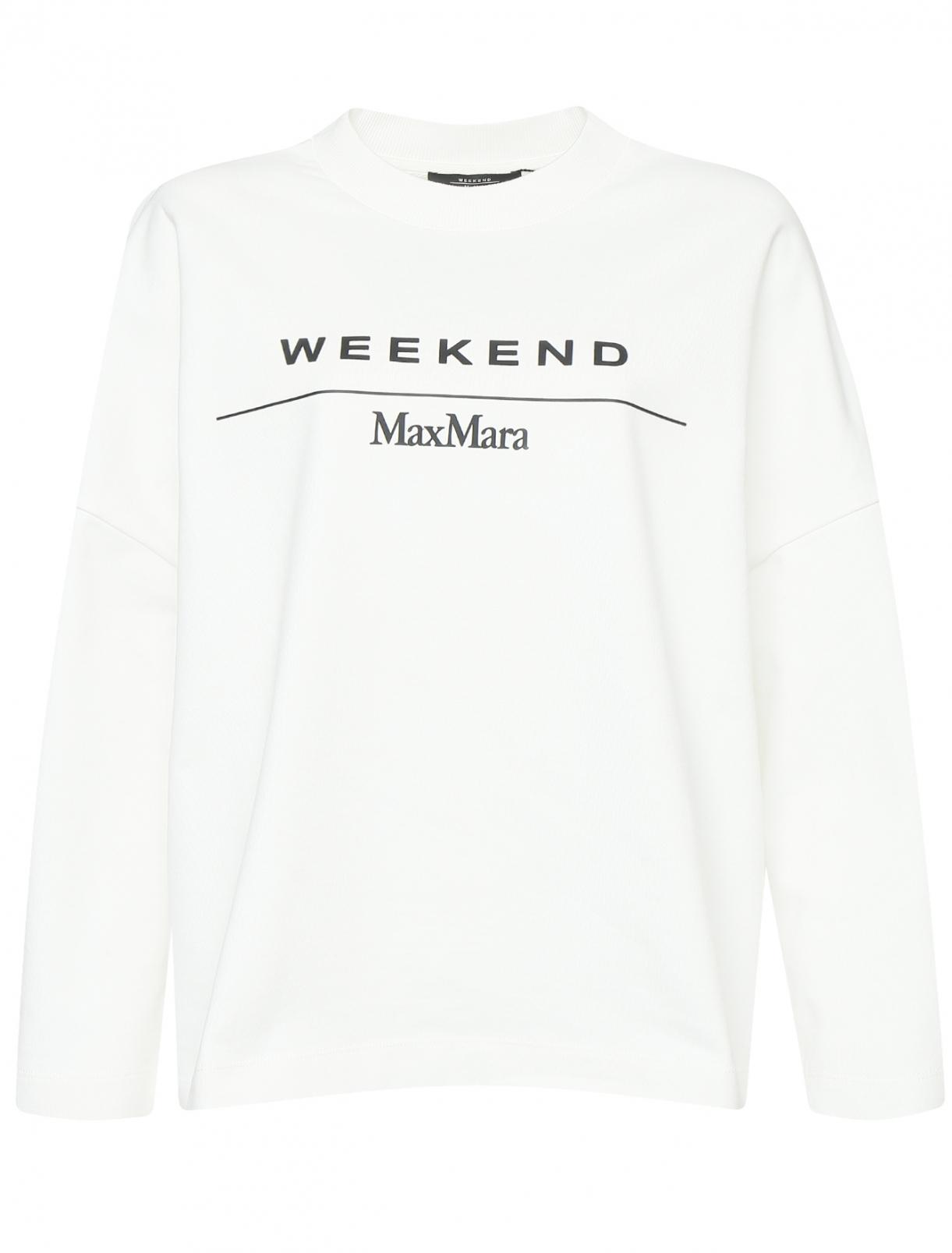 Свитшот из хлопка с принтом Weekend Max Mara  –  Общий вид