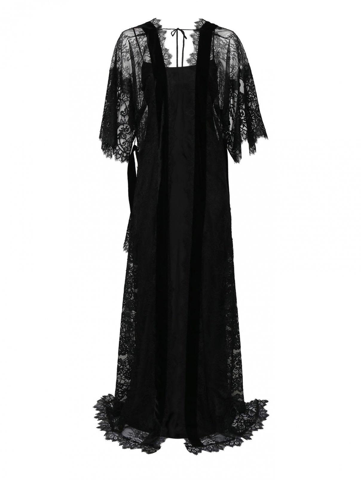 Платье шелковое с кружевной накидкой Alberta Ferretti  –  Общий вид