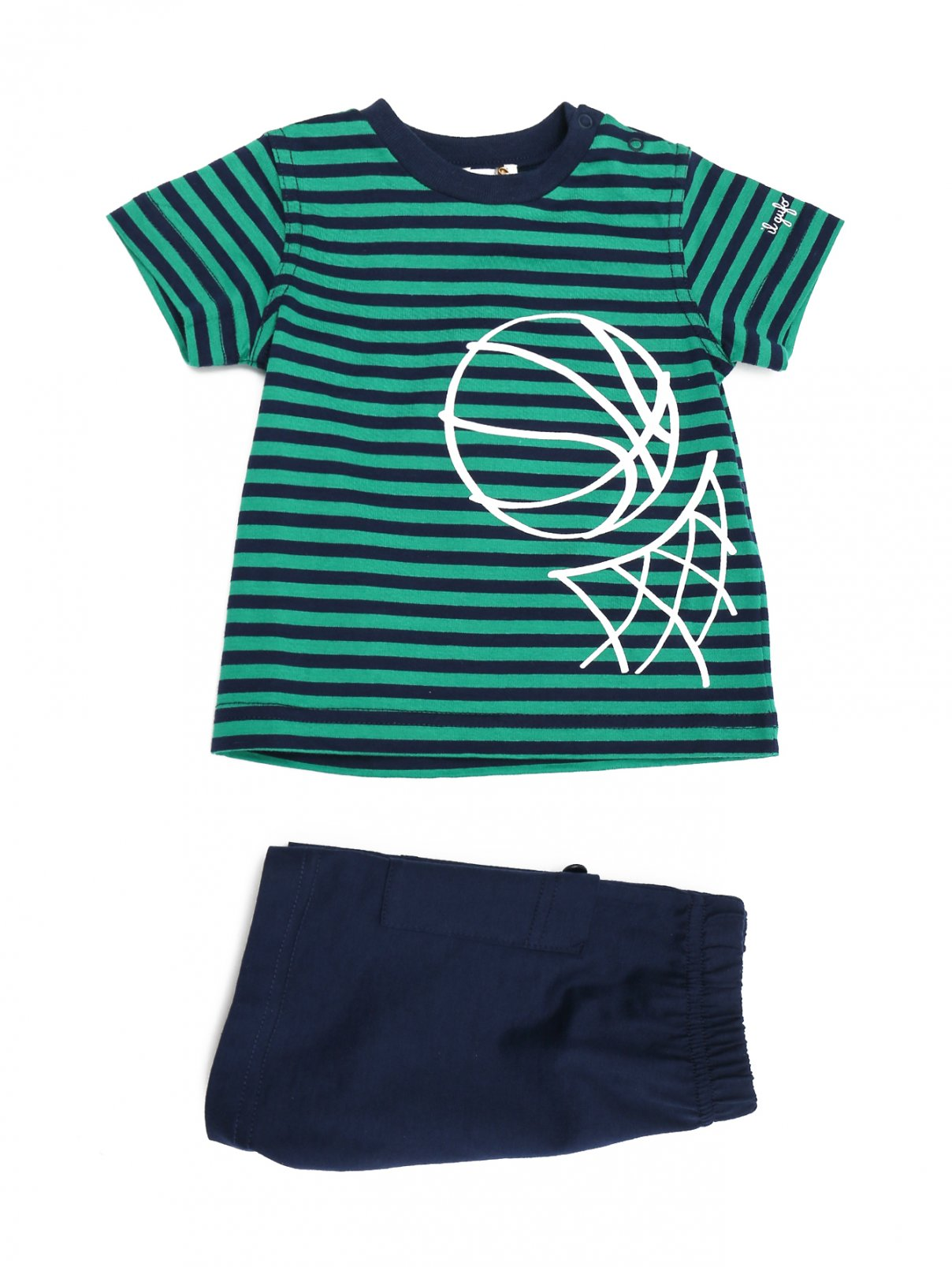 Костюм хлопковый: футболка и шорты Il Gufo  –  Общий вид