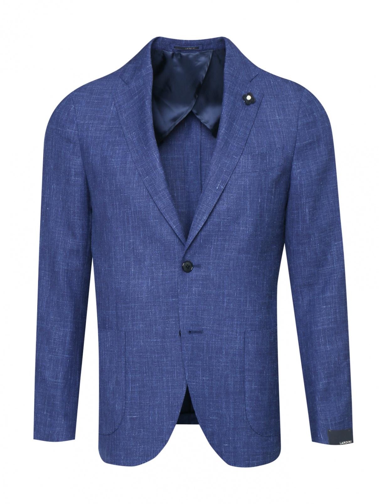 Пиджак из шерсти шелка и льна с накладными карманами LARDINI  –  Общий вид