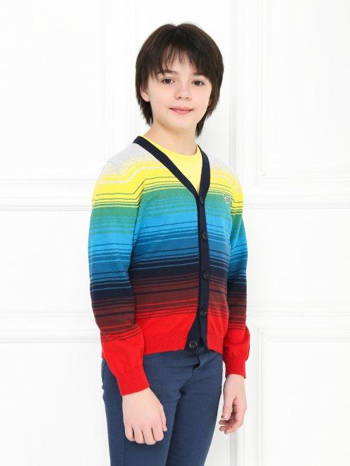 Кардиган хлопковый в цветную полоску Paul Smith Junior - МодельВерхНиз