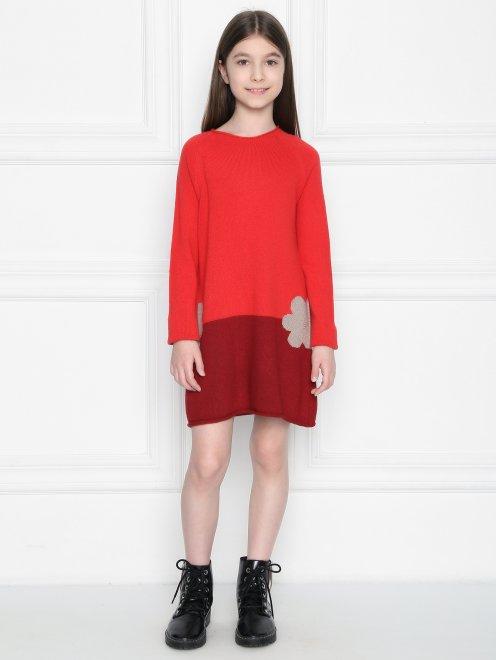 Платье из шерсти с круглым вырезом  - Общий вид
