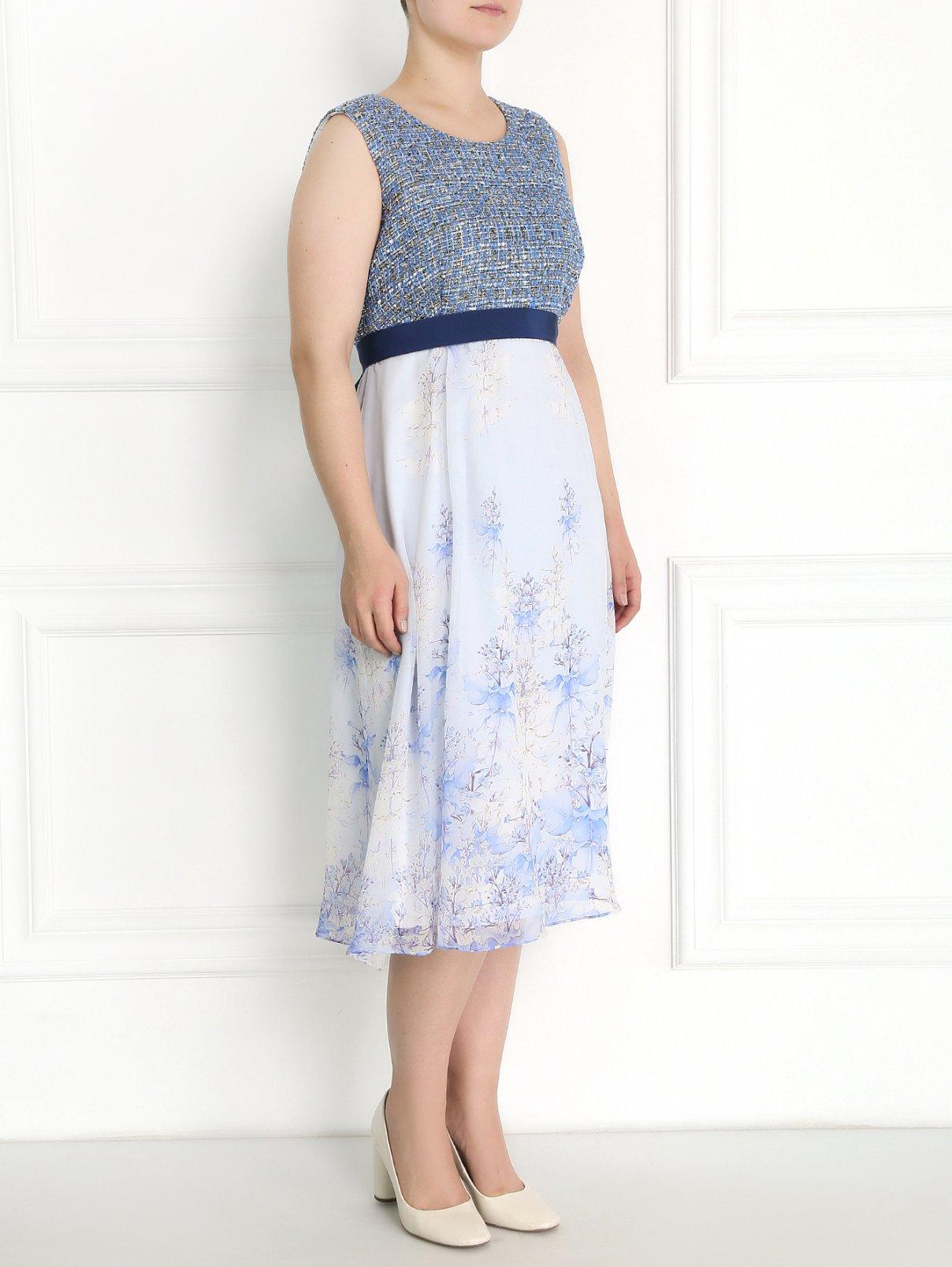 Платье из комбинированной ткани с цветочным узором Marina Rinaldi  –  Модель Общий вид