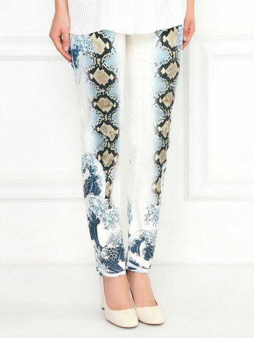 Узкие брюки из хлопка с принтом - Модель Верх-Низ