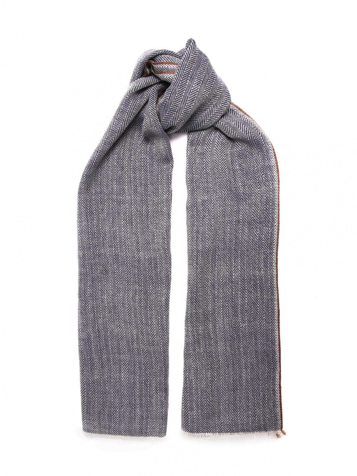 Шарф из шерсти и кашемира с узором и бахромой Altea  –  Общий вид
