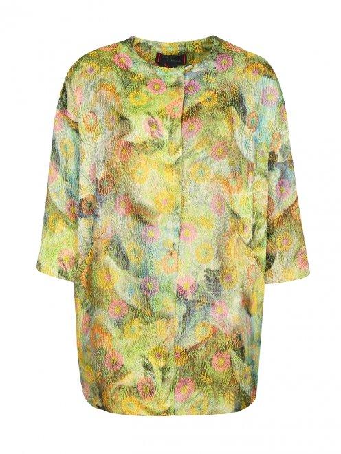 Пальто с цветочным узором и боковыми карманами - Общий вид