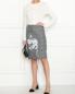 Юбка из смешанной шерсти с узором и принтом Moschino Boutique  –  МодельОбщийВид