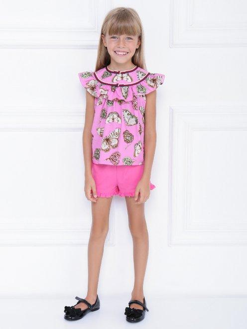 Блуза хлопковая с узором - Общий вид